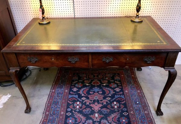 Antique Green LeatherTop Desk