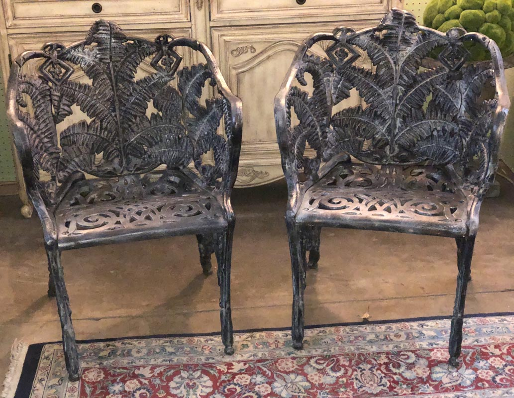 Pair of 18th Century Fern Pattern Cast Iron Chairs - Pair Of 18th Century Fern Pattern Cast Iron Chairs – Antique And Art