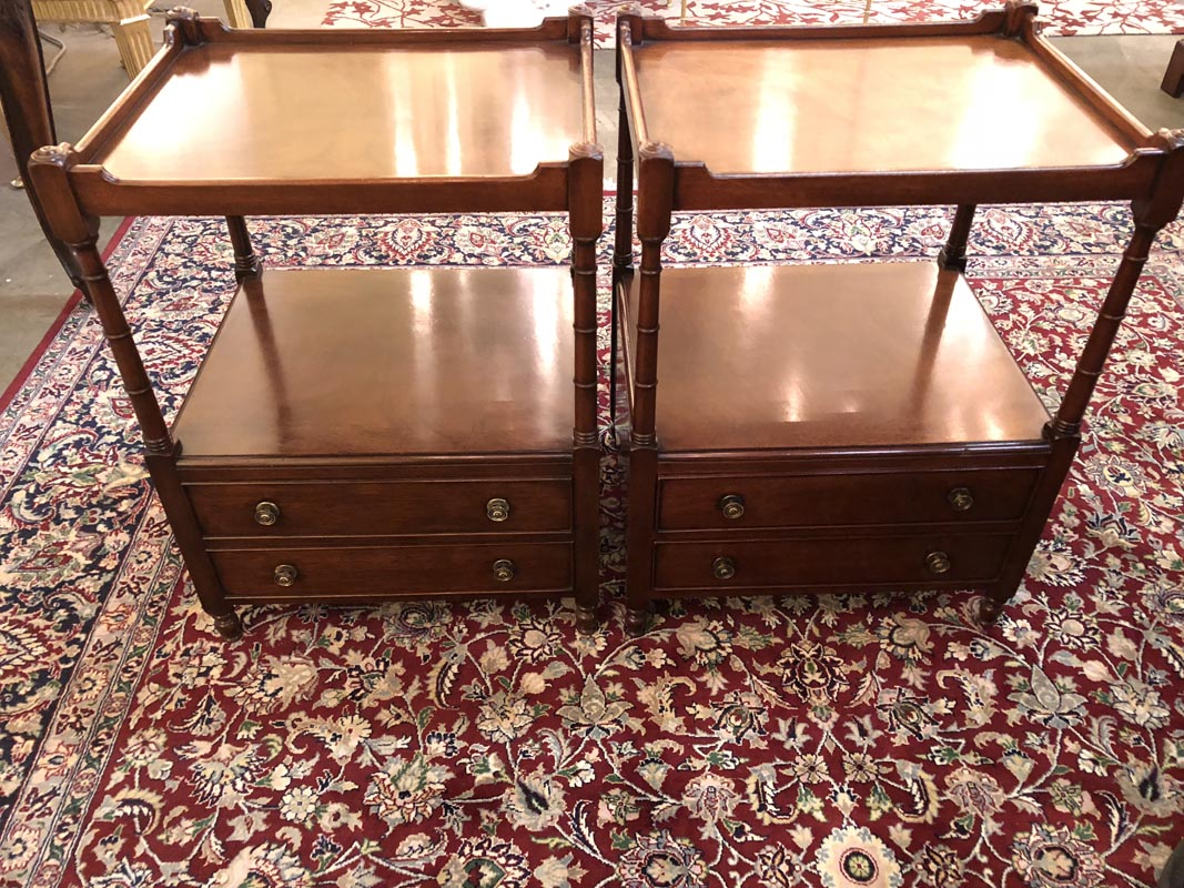 Pair Of Two Tier Mahogany End Tables Antique And Art