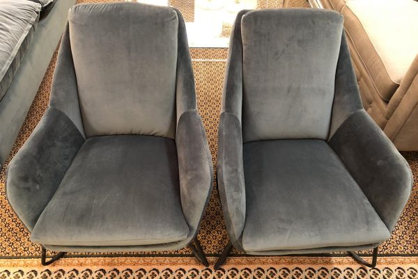 Anna's Mostly Mahogany Consignment - Blue velvet lounge chairs