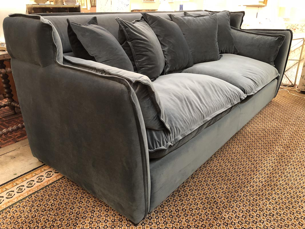 Two Cushion Charcoal Gray Velvet Sofa – Antique And Art Consignment ...