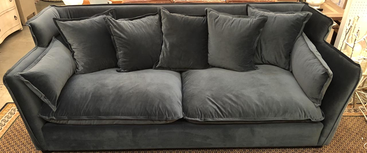 Two Cushion Charcoal Gray Velvet Sofa Antique And Art
