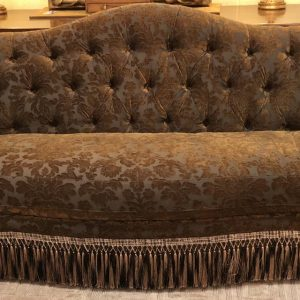 Anna's Mostly Mahogany Consignment - Brown Damask Sofa