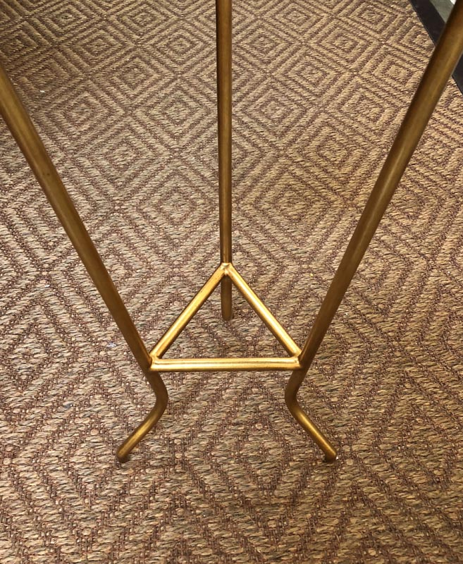 Walnut And Gold Metal Frame Moderne Triangle Side Table
