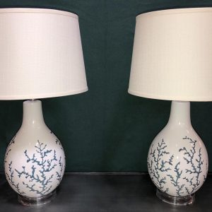 Anna's Mostly Mahogany Consignment - Blue & White Coral Lamps