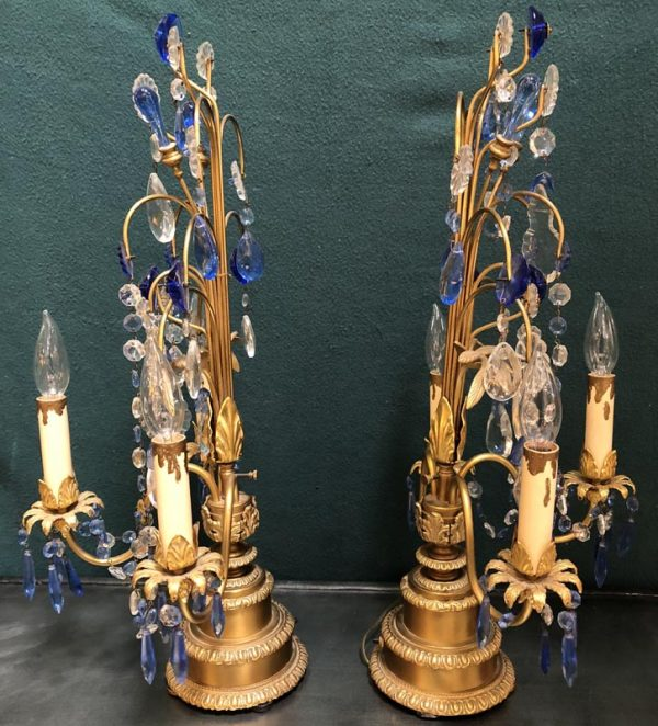 Anna's Mostly Mahogany Consignment - Blue Crystal Candelabras