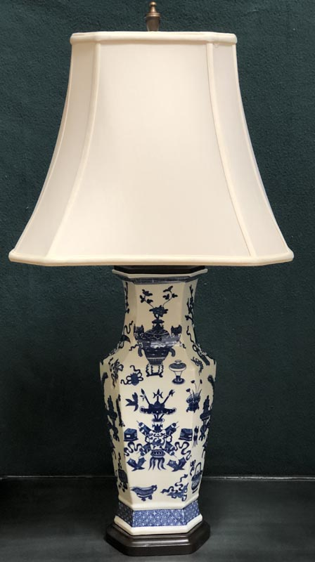 Anna's Mostly Mahogany Consignment - Blue & White Hexagon Lamps