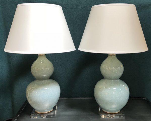 Anna's Mostly Mahogany Consignment - Aqua Blue Lamps