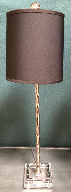 Anna's Mostly Mahogany Consignment - Nickle Bamboo Candlestick Lamps