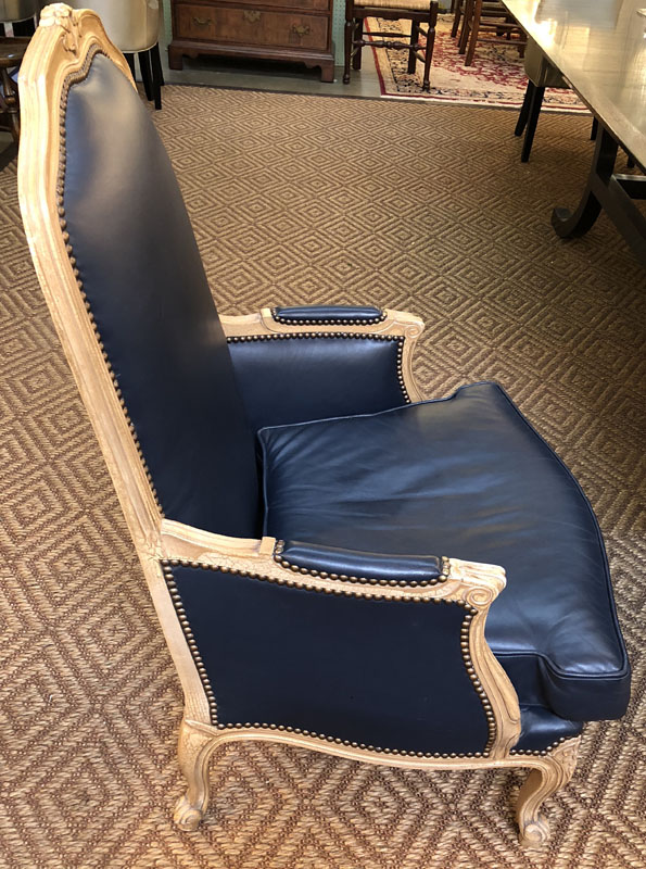 Pair Of Navy Blue Louis Xv Leather Chairs Antique And