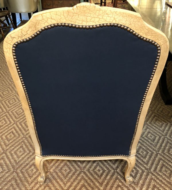 Anna's Mostly Mahogany Consignment - Pr Navy Blue Leather Chairs