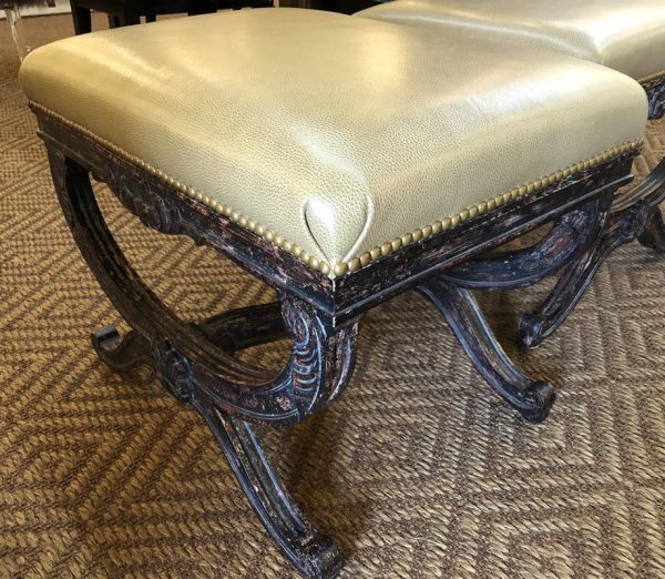 Anna's Mostly Mahogany Consignment - Champagne Leather Stools