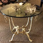 Anna's Mostly Mahogany Consignment - Black Glass Gilt Round End Tables