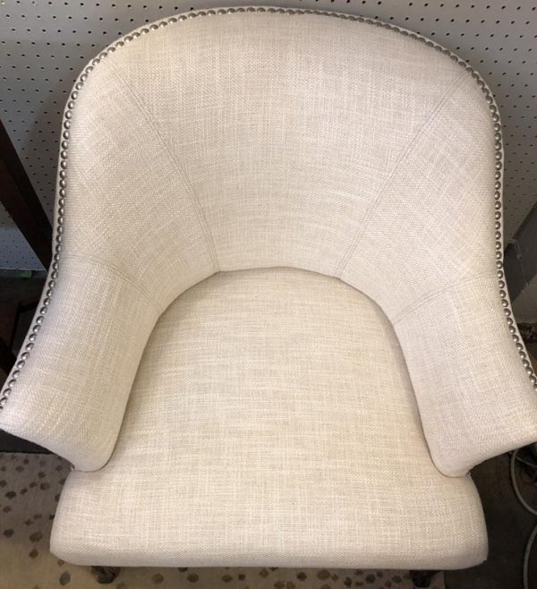 Anna's Mostly Mahogany Consignment - Pr White -Nailhead Arm Chairs