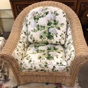 Anna's Mostly Mahogany Consignment - Wicker Chair & Ottoman