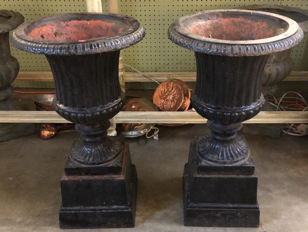 Anna's Mostly Mahogany Consignment - Pr Black Urn Planters