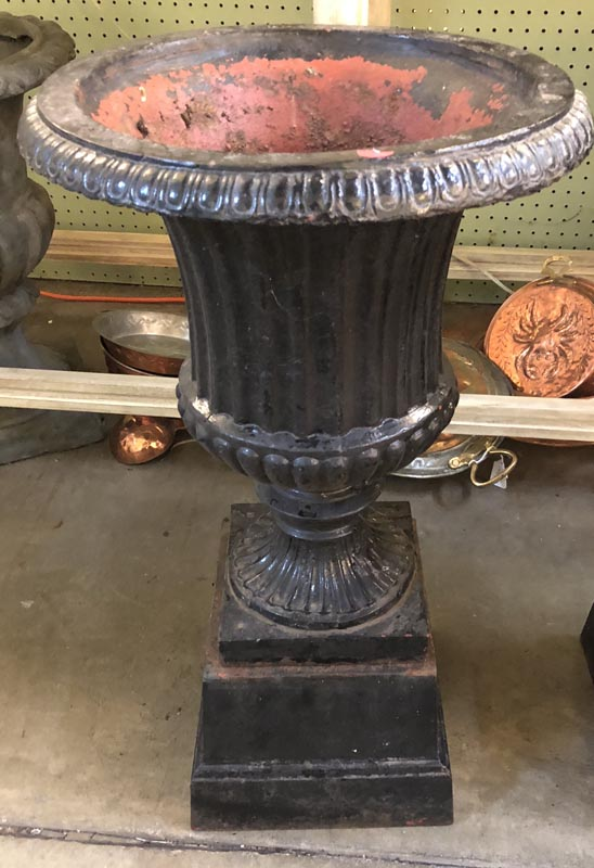 Pair Of Black Cast Iron Urn Planters Antique And Art