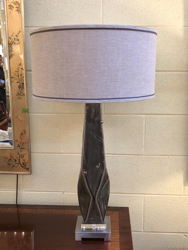 Pair Of Dark Gray Ceramic Lamps Antique And Art