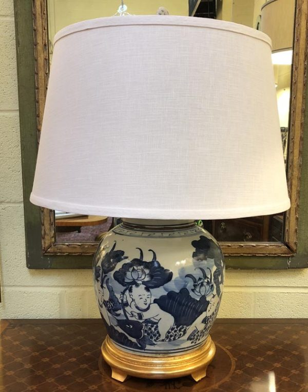 Anna's Mostly Mahogany Consignment - Blue and White Round Lamp