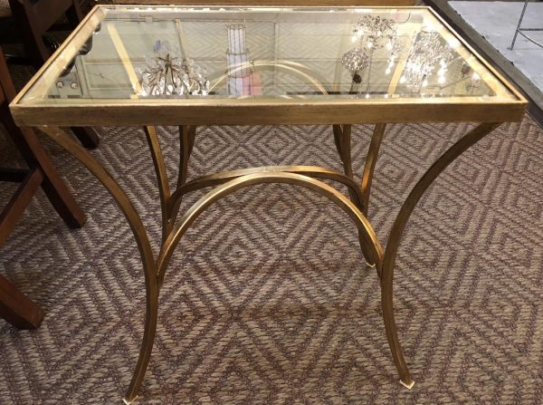 Anna's Mostly Mahogany Consignment - Pr Gold Arched End Tables