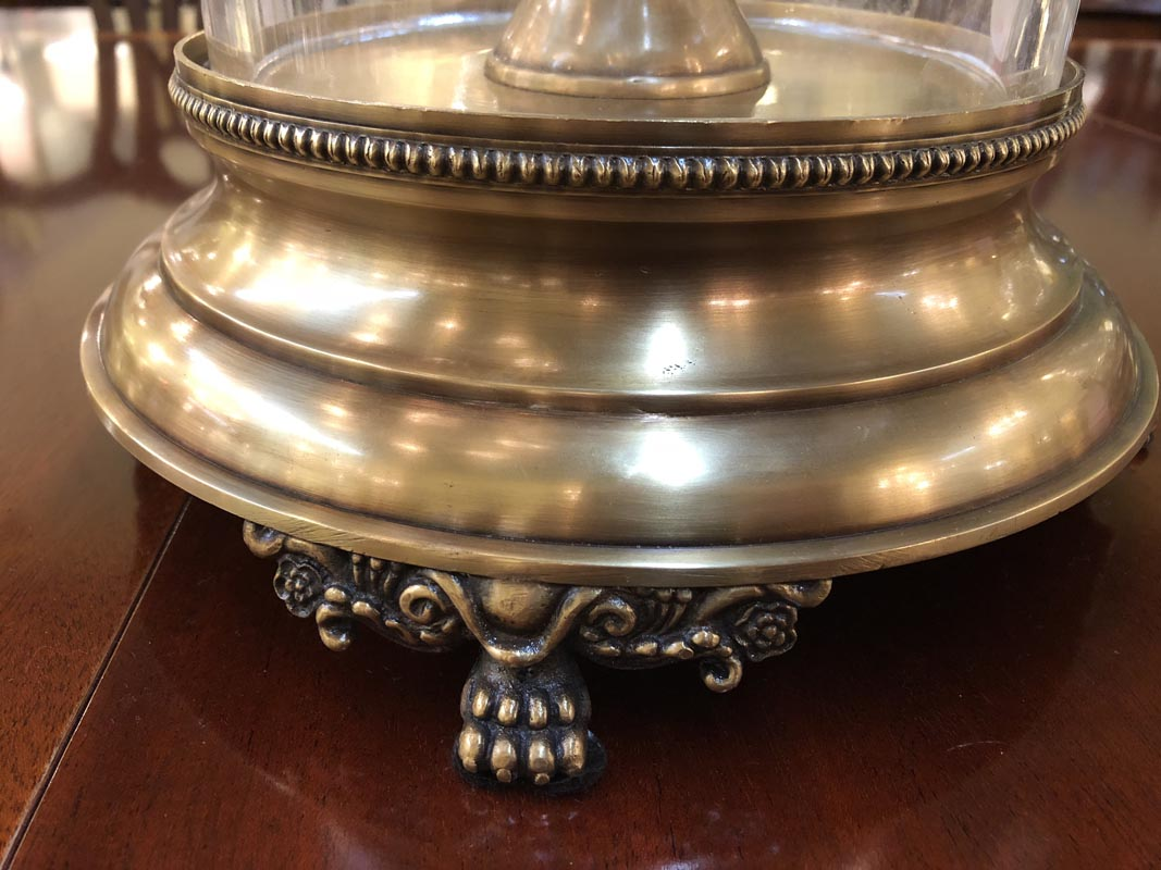 Crystal Hurricane Brass Ornate Base Antique And Art