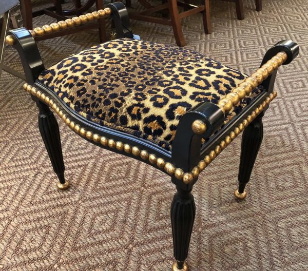 Anna's Mostly Mahogany Consignment - Gilded Leopard Print Bench