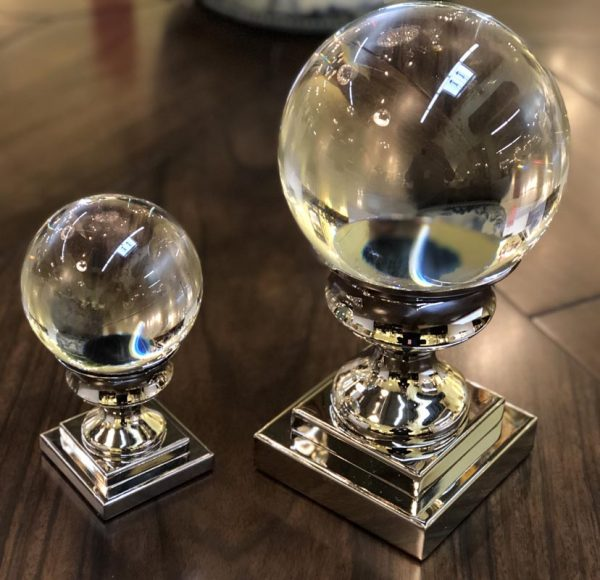 Anna's Mostly Mahogany Consignment - Pair of Crystal Glass Balls