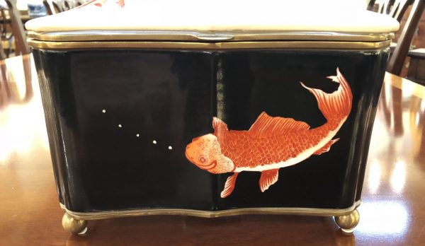 Anna's Mostly Mahogany Consignment - Porcelain Koi fish Box