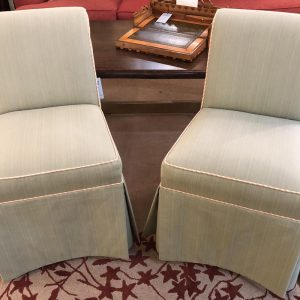 Anna's Mostly Mahogany Consignment - Green Slipper Chairs