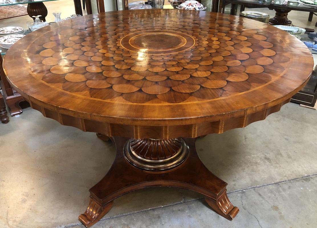 Round Walnut Inlay Table Antique And Art Consignment
