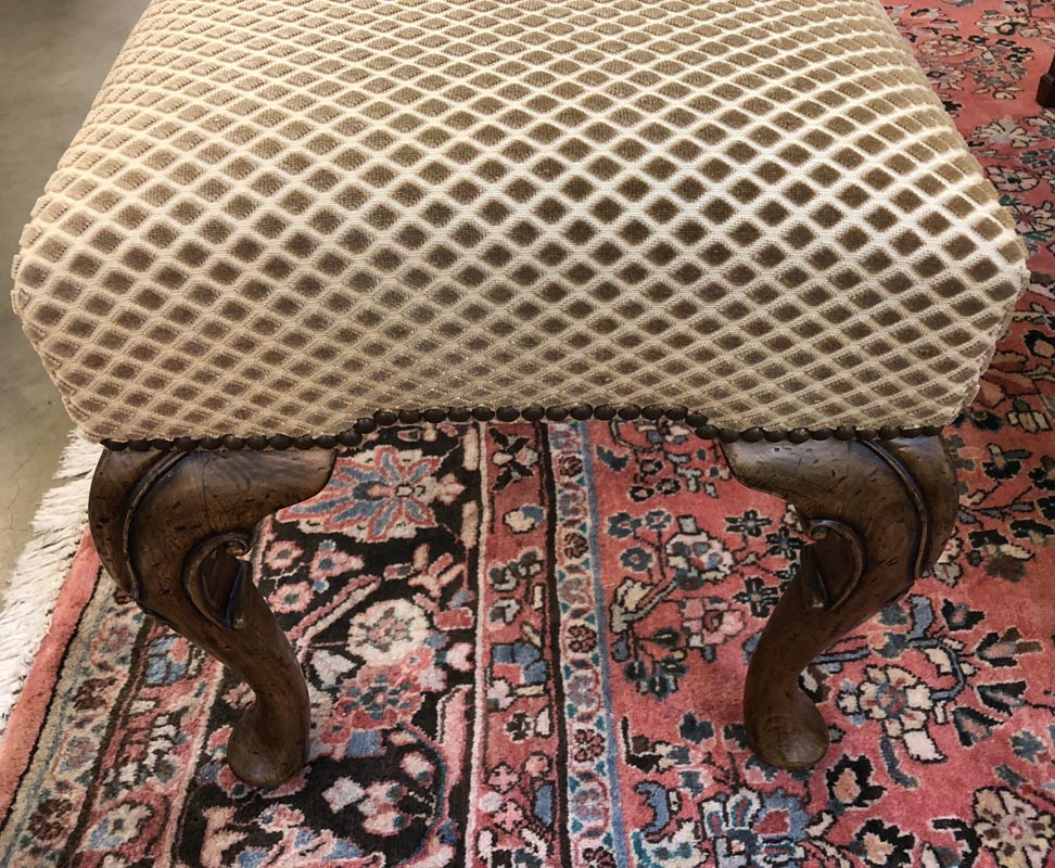 Diamond Pattern Upholstered Bench Antique And Art