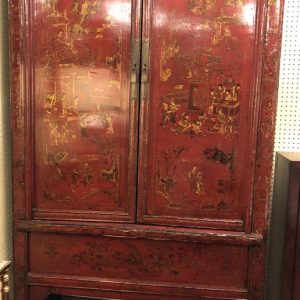 "Anna's Mostly Mahogany Consignment - Red and black chinoiserie Cabinet with two storage shelves  75 1/4""H  45_5""w 22_5""D"