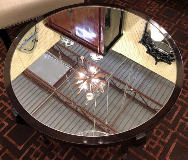 """Anna's Mostly Mahogany Consignment - Round mirrored coffee table with a dark mahogany frame stain finish  19 1/2""""H 36""""Dia"""