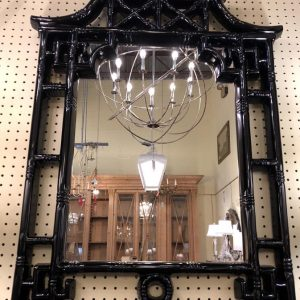 "Anna's Mostly Mahogany Consignment - Black lacquer pagoda mirror 41 3/4""H  28 3/4""W 1_5""D"