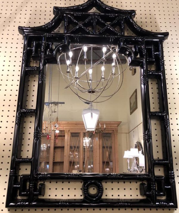 """Anna's Mostly Mahogany Consignment - Black lacquer pagoda mirror 41 3/4""""H  28 3/4""""W 1_5""""D"""