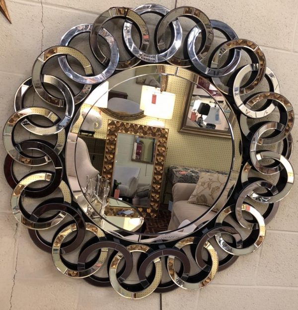"Anna's Mostly Mahogany Consignment - Round Rings mirror on a black frame 35_5""Dia 2_5""D"