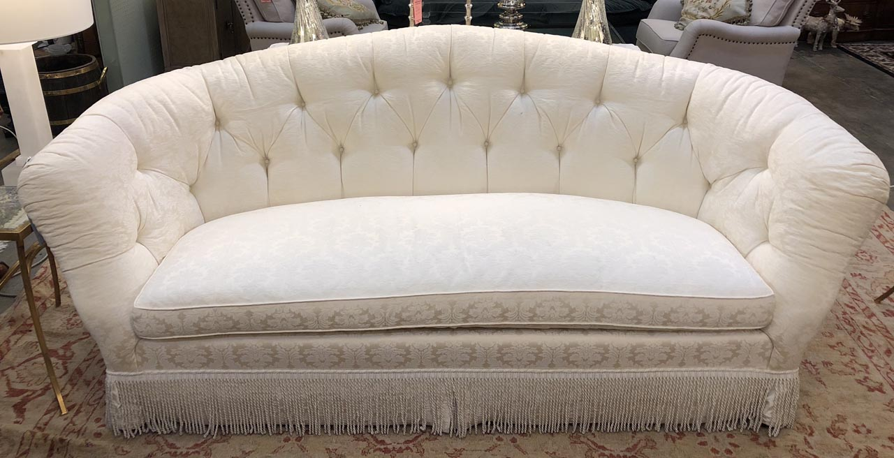 White Damask Sofa Antique And Art Consignment Highwood