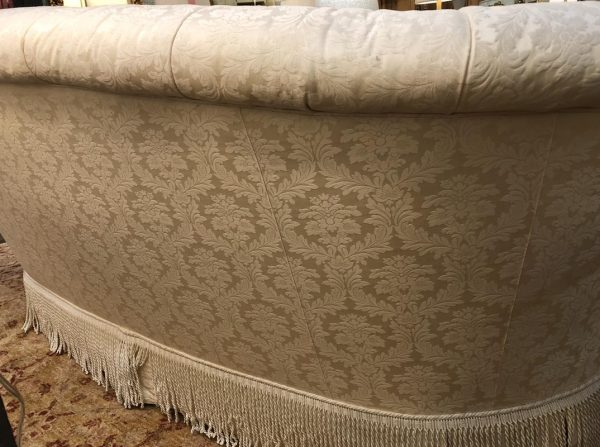 "Anna's Mostly Mahogany Consignment - White curved back royal damask sofa 37""H  93""W 42""D"