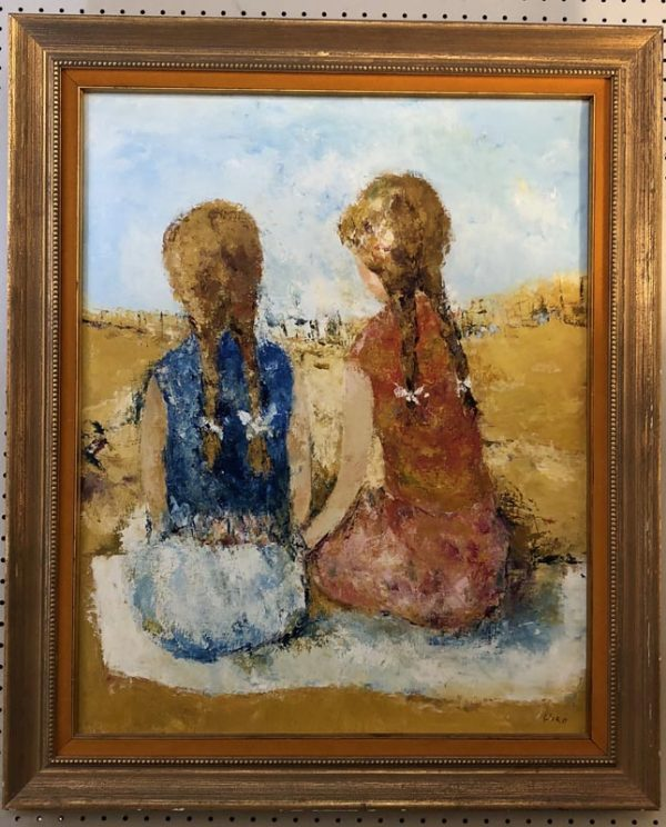 "Anna's Mostly Mahogany Consignment - Painting of two girls in braids at the beach signed by Hiro 33""H  26""W"