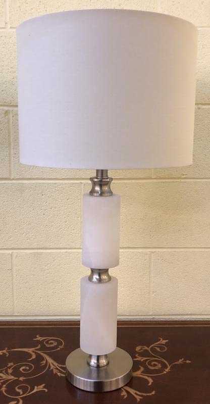 Anna's Mostly Mahogany Consignment - Pair of moderne  white marble lamps with polished silver finish