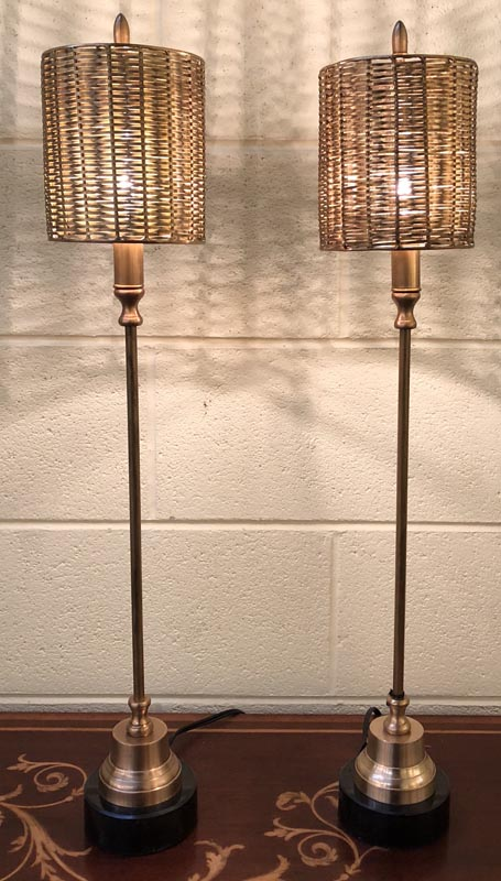 Anna's Mostly Mahogany Consignment - Pair of brass candlestick lamps metal woven shade