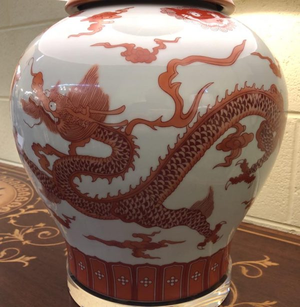 Anna's Mostly Mahogany Consignment - Single orange /red dragon lamp