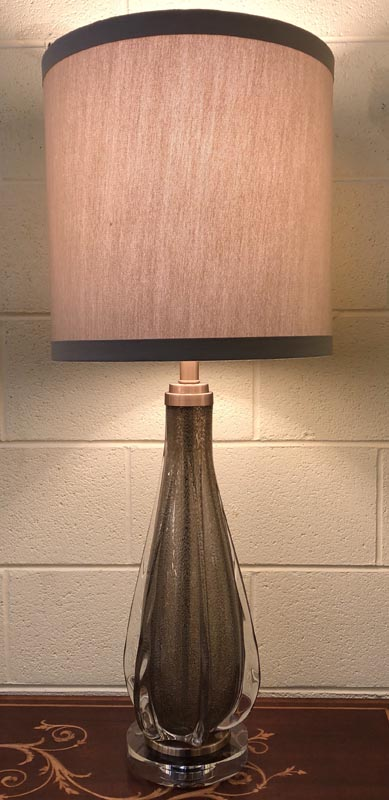 Anna's Mostly Mahogany Consignment - Pair of hand crafted glass lamps