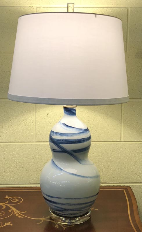 Anna's Mostly Mahogany Consignment - Pair of blue and white swirl lamps