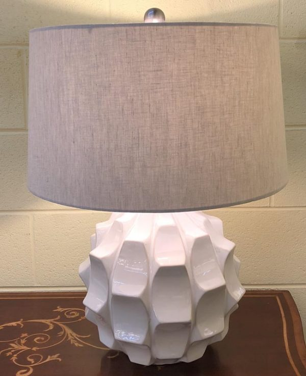 Anna's Mostly Mahogany Consignment - Pair of White Scalloped Lamps