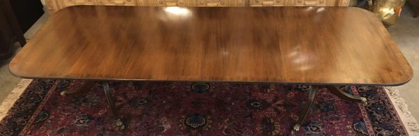 Anna's Mostly Mahogany Consignment - Regency style Double pedestal Caledonia Mahogany dining table