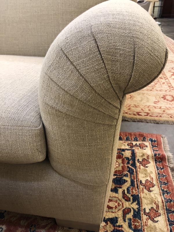 New Custom Beige Linen Sofa Antique And Art Consignment