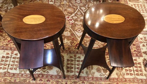 Anna's Mostly Mahogany Consignment - Pair of Oval End Tables