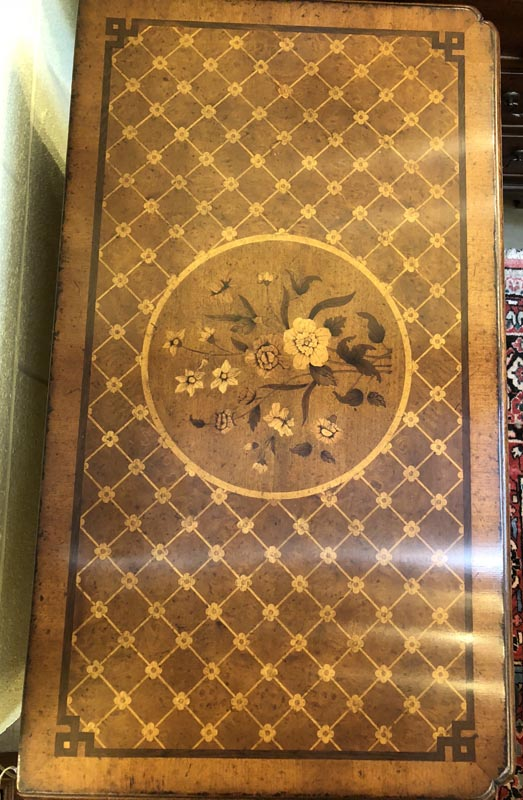 Anna's Mostly Mahogany Consignment - Floral Walnut Inlay Chest of Drawers