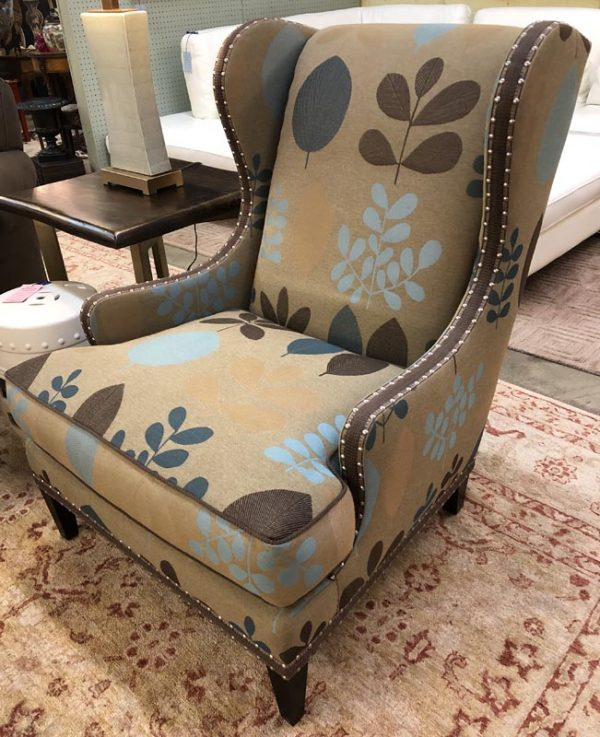 Anna's Mostly Mahogany Consignment - Pr Brown Floral Wing Chairs